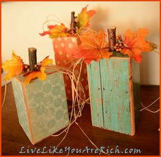 Cute craft that is easy, fast, and inexpensive. Wood pumpkins make great decor for the entire fall season. Put up in October and take down when the…
