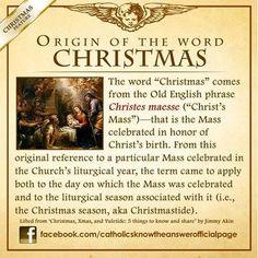 """Origin of the word """"Christmas"""" Catholic Religious Education, Catholic Catechism, Catholic Answers, Catholic Beliefs, Catholic Quotes, Catholic Prayers, Catholic Traditions, Christianity, Catholic Bible"""