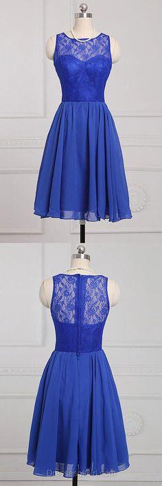 Royal Blue Bridesmaid Dresses, Scoop Neck Bridesmaid Dress Chiffon Knee-length Bridesmaid Dresses, Popular Lace Bridesmaid Dress, Short Bridesmaid Dresses