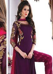 Purple Chiffon Pakistani Style Suit 68258
