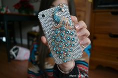 rhinestone peacock iphone case.