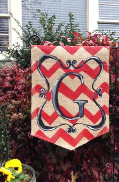 Burlap Garden Flag with Chevron Background pick color Black Scroll and Monogram on Etsy, $20.00