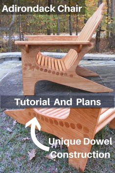 Get the tutorial and plans to build a unique Adirondack Chair. This one is made, using dowels. A very strong chair and the dowels are comfortable to sit on. Great project for beginner woodworkers or the more advanced. Enjoy Popular Woodworking How To Make Beginner Woodworking Projects, Woodworking Techniques, Popular Woodworking, Woodworking Videos, Woodworking Furniture, Furniture Plans, Woodworking Crafts, Woodworking Plans, Woodworking Classes