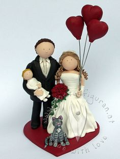 Familien Brautpaar mit Katze von www.tortenfiguren.at - Family Weddingcake Topper
