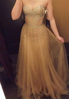 Elegant Sweetheart neck Prom Dresses Tulle | Fashiondressy Homecoming Dresses Long, Gold Prom Dresses, Pretty Prom Dresses, Backless Prom Dresses, Tulle Prom Dress, Cheap Prom Dresses, Party Dresses, Beaded Dresses, Dresses Uk