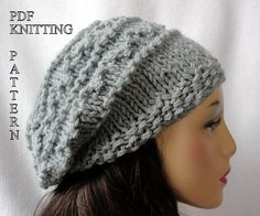 Knitted Hat Pattern, Knit slouch beanie pattern, Knit Fisherman Slouch Hat Pattern on Etsy, $5.00