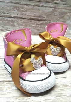 Gold and pink minnie shoes Check out this item in my Etsy shop https://www.etsy.com/listing/292263807/baby-converse-birthday-shoes-baby-shoes
