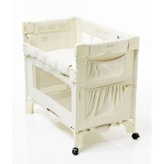 Arms Reach Brand Mini Bassinet, Natural-side goes up and down