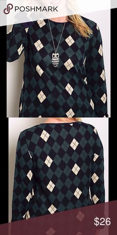 PLUS LONG SLEEVE ROUND NECKLINE ARGYLE PATTERN TOP PLUS LONG SLEEVE ROUND NECKLINE ARGYLE PATTERN TOP  FS-T2773I-1Material 95% POLYESTER 5% SPANDEX Tops Blouses