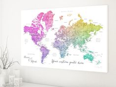 Custom quote world map canvas print - colorful gradient watercolor world map with cities. Color combination: Leo