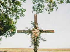 southern wedding floral cross Savannah Wedding by Brandon Lata