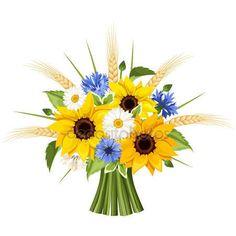 Bukiet Sloneczniki Stokrotki Chabry I Klosy Pszenicy Ilustracja Wektorowa Ilustracja Stockowa 72402535 Poppy Bouquet Daisy Bouquet Sunflowers And Daisies