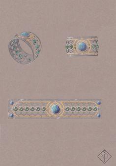 Bracelet Jardins à la Française, Collection Tour du monde, Or Blanc, Saphirs Jaunes, Péridots, Diamants, Turquoises godronnées. Mars 2014.