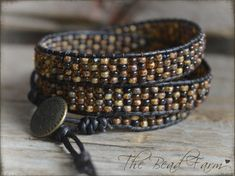 Beaded Wrap Bracelet, Wrap Cuff Bracelet, Casual Wrap Bracelet, Brown Wrap Bracelet, Leather Wrap Bracelet, Triple Wrap Boho Bracelet
