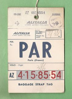 Paris via Alitalia Vintage Luggage Tags, Luggage Labels, Vintage Labels, Vintage Ephemera, Vintage Clip, Vintage Tags, Web Design, Graphic Design, Digital Paper Free