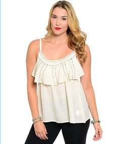 Edg Plus Solid Ivory Gem Bead Polyester Casual Sleeveless Blouse 1Xl 2Xl 3Xl