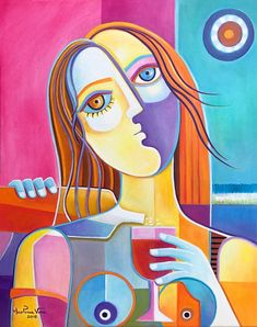 Cubism Abstract Original Oil painting canvas Marlina Vera Fine