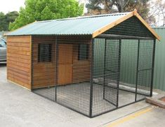 Chook Enclosures - Chicken Enclosure with Timber House Roof - Chook Pens - Covered Chook Enclosures - Hen Houses - Chicken Enclosures in Prefabricated Kits - We are the Pet Enclosure Specialists- Or dog pen! Chicken Enclosure, Dog Enclosures, Chook Pen, Chicken Coop Kit, Walk In Chicken Coop, Dog Kennel Designs, Dog House Plans, Cool Dog Houses, Timber House