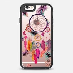 Modern boho watercolor pink yellow dreamcatcher and feathers pattern hand paint transparent by Girly Trend - Classic Grip Case