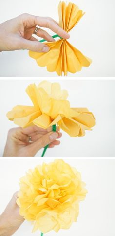 Simple DIY Paper Marigolds for Mother's Day (or anytime you need a paper flower) | TinkerLab.com