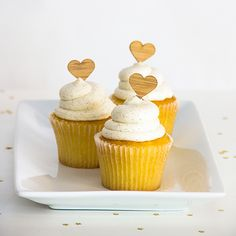 HEART CUPCAKE TOPPERS IN AMBER BAMBOO, SET OF 12  Put the finishing touch on your tasty treats with these adorable heart cupcake toppers. Perfect for weddings, bridal showers, baby showers, and birthdays!