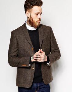 ASOS – Eng geschnittener Tweed-Blazer