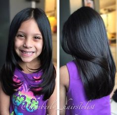 long girls' haircut with face-framing layers