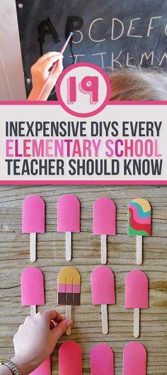 19 Simple DIYs every elementary school teacher should know. #teacherhacks