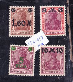 DR 1921: MiNr.154 - 157 , postfr.*:: kompl.GERMANIA-Satz mit Aufdruck