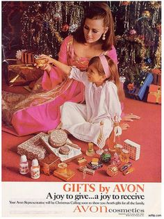 Vintage Avon Christmas ad. I want to look like this on Christmas morning... Pretty, pretty....