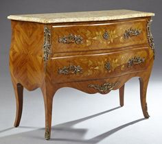 Antique Fine French INLAID & Bronze Mounted Marble Top Louis XV COMMODE Dresser #LouisXIIIXIVXVXVI
