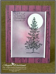 Click on the picture to see more of Angela's Projects. #stampinup #handmadecards #spongingtechnique #lovelyasatree #christmascard #hardwood #richrazzleberry #whisperwhite #shimmerywhite