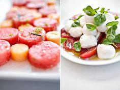 Caprese Salad, watermelon and canteloupe