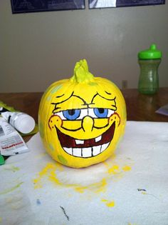 Painted a small pumpkin with 2 sponge bob faces for the boys.