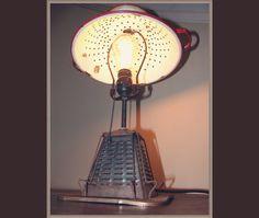 Vintage Toaster Colander Lamp,repurposed,creative lighting,industrial,vintage antique kitchen light,gift for chef cook,home decor,food lover...