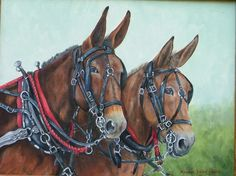 Rawhide Mules by Maggie Bryce Most Beautiful Horses, Pretty Horses, Animals Beautiful, Draft Mule, Mules Animal, Farm Images, Art Through The Ages, Work Horses, Wild Creatures