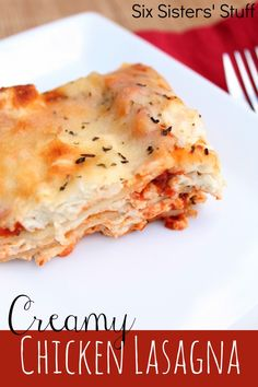 Creamy Chicken Lasagna Recipe from @Six Sisters' Stuff! A new twist to a family favorite!