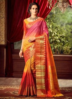 Buy Pink N Orange Uppada Art Silk Saree online from the wide collection of sari.  This Orange | Pink colored sari in Art Silk fabric goes well with any occasion. Shop online Designer sari from cbazaar at the lowest price.