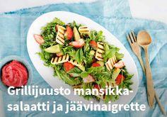 Grillijuusto mansikkasalaatti ja jäävinaigrette, resepti: Valio #kauppahalli24 #resepti #ruokaidea #mansikkasalaatti #mansikka #vinaigrette #grillijuusto #verkkoruokakauppa