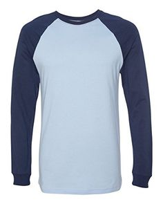 Bella Canvas Mens Jersey LongSleeve Baseball TShirt  BABY BLUENAVY  XL Color Baby BlueNavy Size XLarge Model 3000C ** Read more  at the image link.