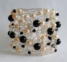 Pearl Cuff Bracelet Wire Crochet Cuff Bracelet by LavishGemstone, $60.00