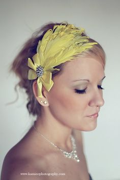 LUSCIoUS LEMONADE Bright Yellow Curly Goose Feather Headband Hair Bow Bling Rhinestones - Wedding Bridal - Boutique Women Girls. $21.99, via Etsy.