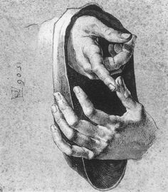 Albrecht Düre. Study of Hands (1506). Pen and ink heightened with white on paper, 206 x 185 mm. Blasius Collection, Braunschweig