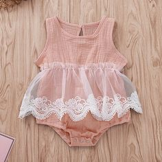 Beautiful Elastic Waist Mesh Ramie Cotton Romper - Best İdeas Of Life Baby Girl Dresses, Baby Girls, Baby Dress, Toddler Girls, Baby Outfits Newborn, Baby Boy Outfits, Kids Outfits, Toddler Outfits, Vintage Baby Clothes