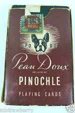 Vintage Pinochle Pean Doux PO DO Deck Pack Playing Cards Pug Deer 48 cards play card, card vintag, swap card, playing cards, deck, pug
