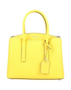 Medium Leather Textured leather Detachable application Logo Solid color Double handle Detachable shoulder strap Zipper closure External pockets Internal pockets Fully lined Bottom with studs Contains non-textile parts of animal origin Daytime Yellow Accessories, Yellow Jewelry, Yellow Earrings, Fashion Accessories, Yellow Purses, Yellow Handbag, Kate Spade Handbags, Kate Spade Purse, Kate Spade New York
