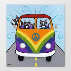 Rainbow Love Bus Cats Stretched Canvas by kilkennycat