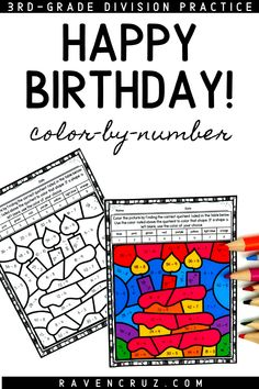 Celebrate birthdays with these division color by number worksheets. Use them to replace a students normal work or to celebrate a significant figure's birthday. #mathwithraven Division Activities, Math Division, Math Activities, Fourth Grade Math, First Grade Math, Math Rotations, Math Centers, Number Sense Kindergarten, Kindergarten Math
