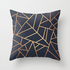 Rose gold throw pillow - copper and midnight navy cushion on Society6