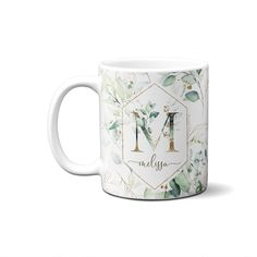 Monogram Coffee Mug, Monogram Letters, Monogram Initials, Alphabet Mugs, Letter Mugs, Name Mugs, Gift For Architect, Custom Mugs, Floral Letters